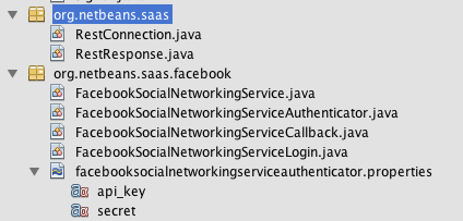 Netbeans Saas generated packages org.netbeans.saas RestConnection/RestResponse handler org.netbeans.saas.facebook FacebookSocialNetworkingServiceAuthenticator.