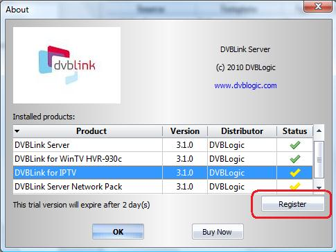 Software registration DVBLink for IPTV license can be purchased using DVBLink Server Configuration program: Once we have received your order, we will immediately send to you an e-mail containing