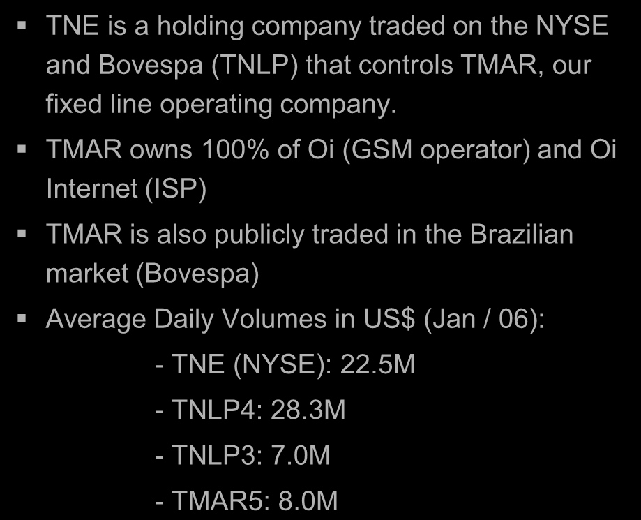 Corporate Structure December / 05 TNE is a holding company traded on the NYSE and Bovespa (TNLP) that controls TMAR, our fixed line operating company.