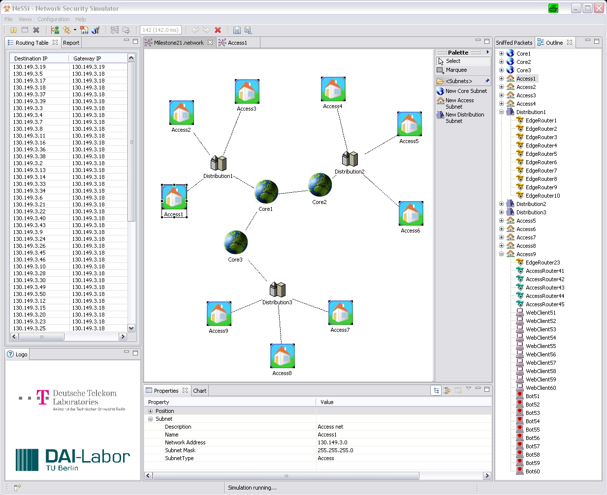 Figure 1: Graphical user interface of NeSSi - Main Network Editor window distribution he wants to update.