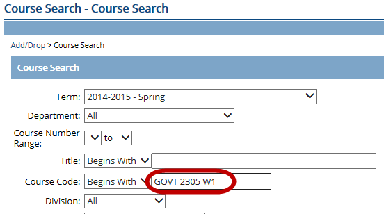 Click on Search for classes.