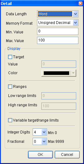 Property Description of Meter Elements When the user has input the target value, minimum and maximum value, after pressing OK button, HMI will examine the value by referring to the selected data