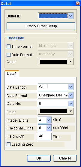 3.8.12.2 Historical Data Table Property Description of Historical Data Table Elements Convert the history data to numeric data and display on HMI screen by a data table.
