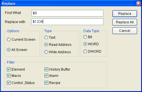 Data Type: Bit, WORD, DWORD If the Read Address or Write Address button is selected, it is needed to select if the replacing data type is Bit, Word, or Double Word.
