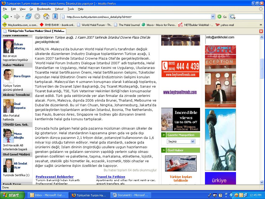 PRESS COVERAGE http://www.turkiyeturizm.
