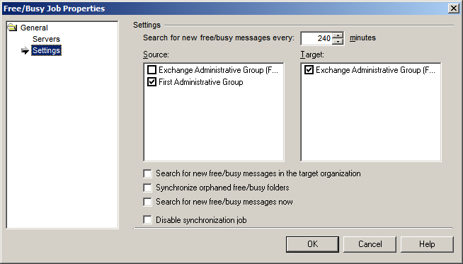 The Search for new free/busy messages every minutes control displays the time interval at which the Free/Busy Synchronization Agent checks whether any new free/busy messages were created in the