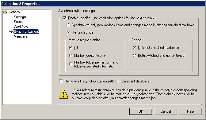 Resynchronize only mailbox contents. Resynchronize only mailbox folder permissions and folder-associated information.