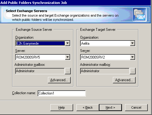 Step 1. Select Exchange Servers The public folder synchronization job is set up between the source and target servers that you select in this step of the wizard.
