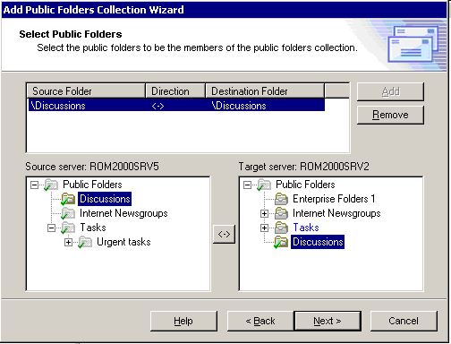 Step 3. Select Public Folders Populate the collection with public folder pairs.