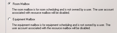 2. Select Room Mailbox or Equipment Mailbox and click Next 3.
