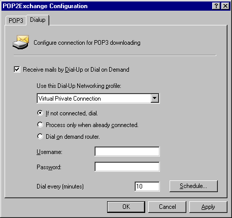 If mail is larger, then: Choose to delete email larger than the maximum allowed size, or send a message to the postmaster. 5.1.2 Configure dial up connection options 1.