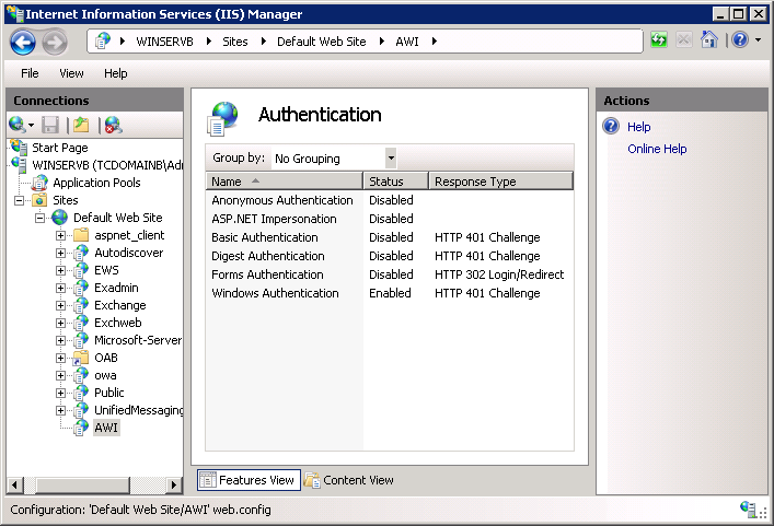 Screenshot 13 - Internet Information Services (IIS) Manager 7. Right click on the Anonymous Authentication option and select Disable. 8.