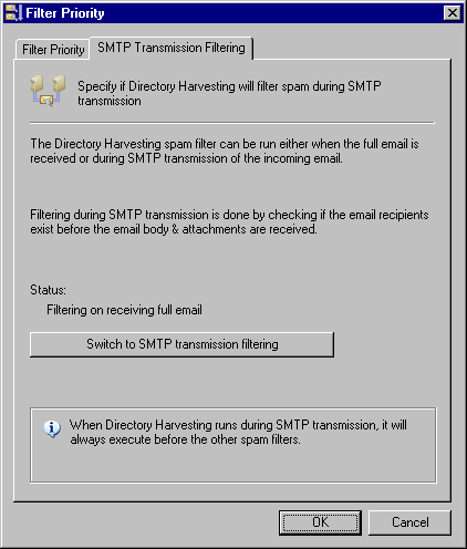 Screenshot 41 - Anti-spam ordering dialog 2. Click the button to switch between: Switch to full email filtering - Filtering is done when the whole email is received.