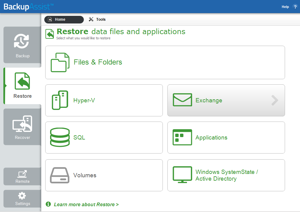 4. (EGR) is enabled with the purchase of the Exchange Granular Restore Add-on.
