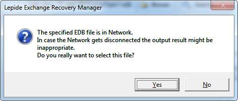 Figure: LERM Warning Message 4. In the next page, select the type of scan you want to perform on the EDB and Click Next.