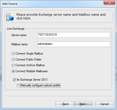 Figure: Specifying Exchange Server and Mailbox Name 4.