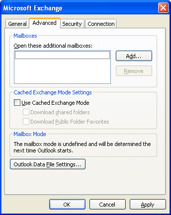 Figure: Specifying Exchange Server and Mailbox Name 2.