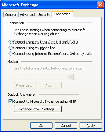 4. Switch to the Connection tab to view and modify its settings. Figure: Connection Tab Settings 5. Click Exchange Proxy Settings. MS Exchange Proxy Settings opens up in a new window.