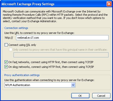 Figure: Exchange Proxy Settings Now, you have to check whether the configured Outlook profile is able to connect to Exchange Server 2013 with the modified
