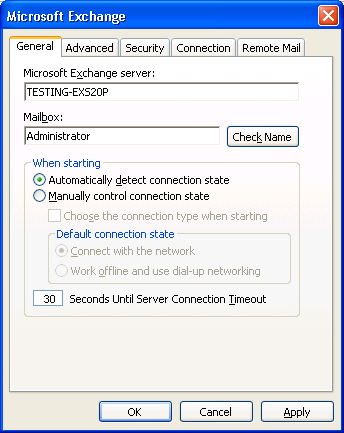 Figure: General Tab 7. Click on Check Name button on General tab to check if mailbox exists on the Exchange Server. This will display the dialog box asking for login credentials.