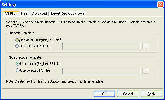 4.2 Adding New PST File using Template You can create a new PST file in the destination using a template. For that, first create an Outlook Data File in the MS Outlook.
