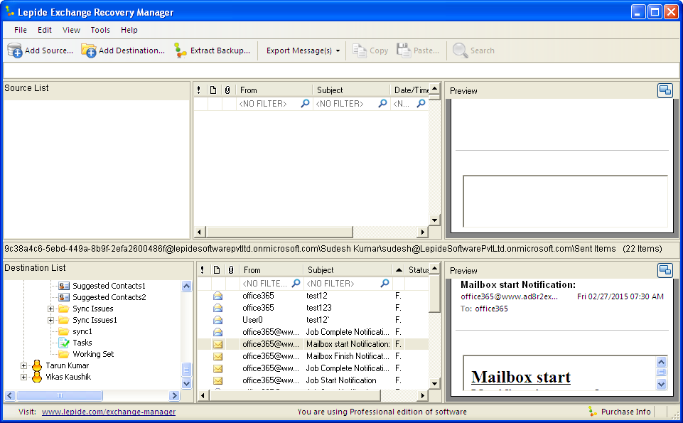 Figure: Multiple Mailboxes added in Destination 2015