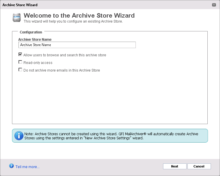 Screenshot 74: Attaching an Archive Store 3.