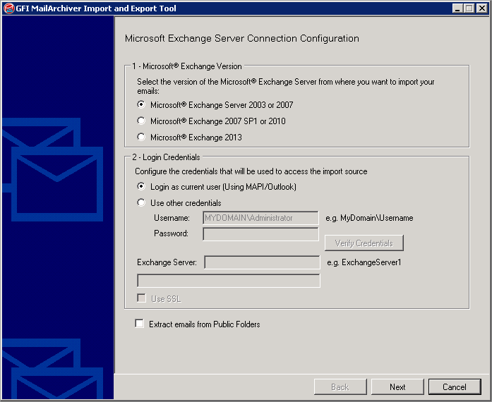 Screenshot 93: Importing from a Microsoft Exchange mailbox 3.