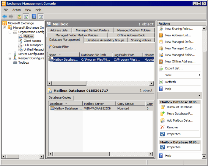 Screenshot 16: Configuring a Mailbox Database 2.