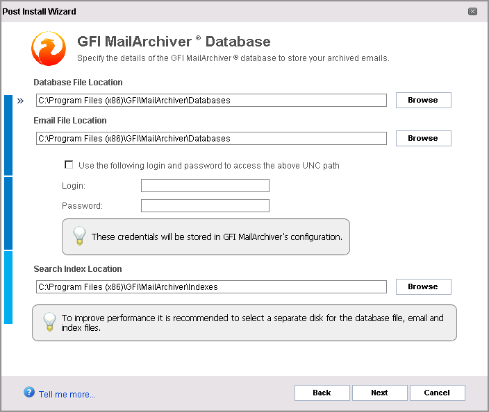 3.2.1 Configuring Archive Store - GFI MailArchiver Database If you opted to use a GFI MailArchiver database, you will now be guided to create New Archive Store Settings that are used as a template by