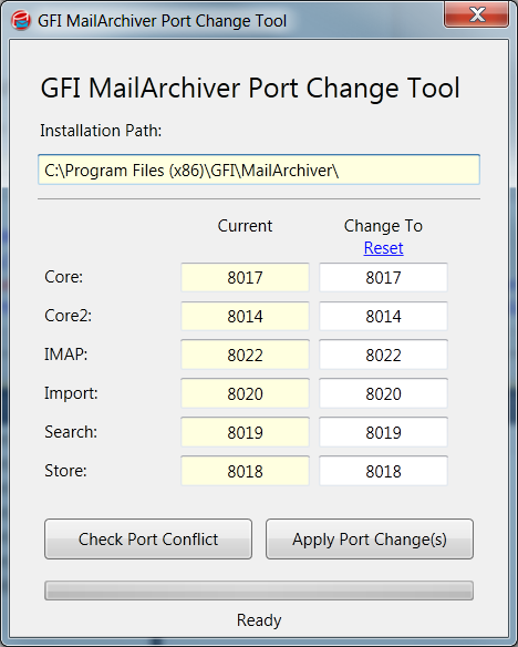 Screenshot 26: Port Change Tool user interface To use the Port Change Tool: 1. Launch the tool from Program Files > GFI\MailArchiver > Tools > PortChange and click PortChange.