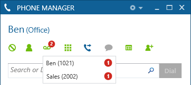 Phone Manager 34 3.2.4 Voicemail Access Voicemail notifications are displayed on the main window with the notification icon will show the number of messages in a red circle.