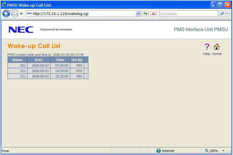 17 This shows how a wakeup call is set for 15:25 from PBX with a WAK1 message that is first acknowledged and then triggers a WR message towards the PMS.