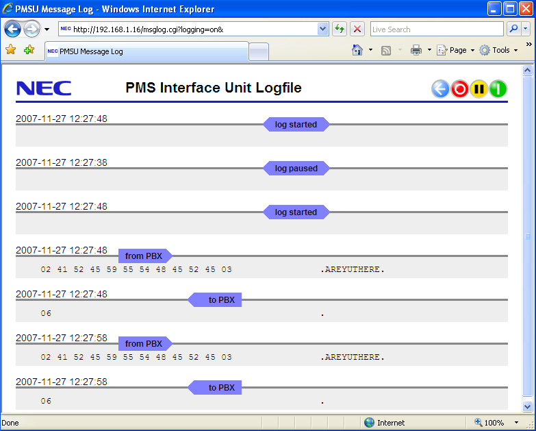 28 Built in communications log The PMSU interface has a built-in message log, which records each sent and received message, which is viewed with a web browser.
