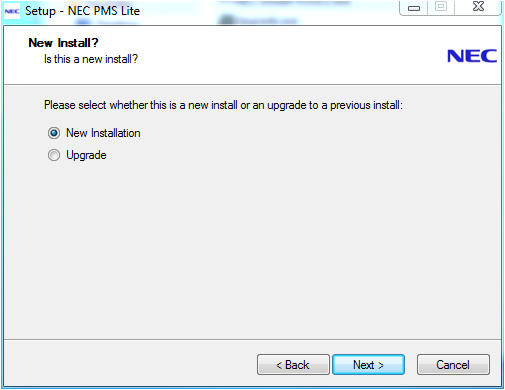 2. Click 'Next' This page enables selection of either an upgrade or new installation.