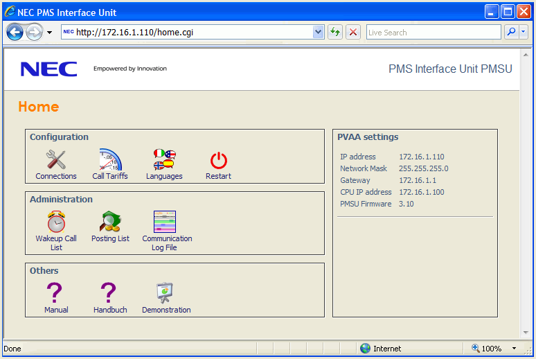 The homepage of the PMSU is divided into four fields, grouped into a left and right panel.