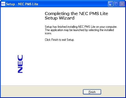 The PMS Lite is now installed. NEC PMS Lite Configuration User ID s & Passwords The default installation User Name is Admin and Password is Tiger.