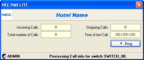 60 Hotel - NEC PMS Lite User Guide Getting Started The system is composed of several program modules.