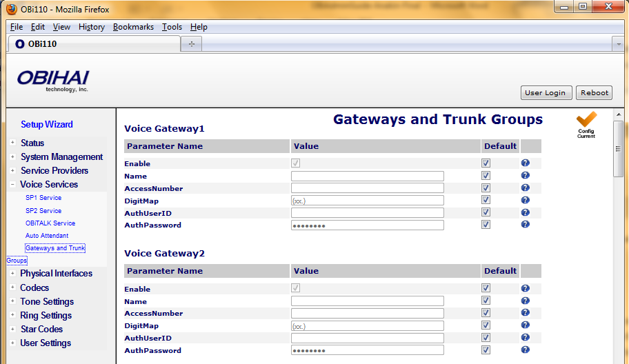 Voice Gateway Parameter Guide: Parameter Description Default Setting Trunk Group n (n=1 8) Enable Enable this voice gateway Yes Name An arbitrary user-friendly name to identify this gateway