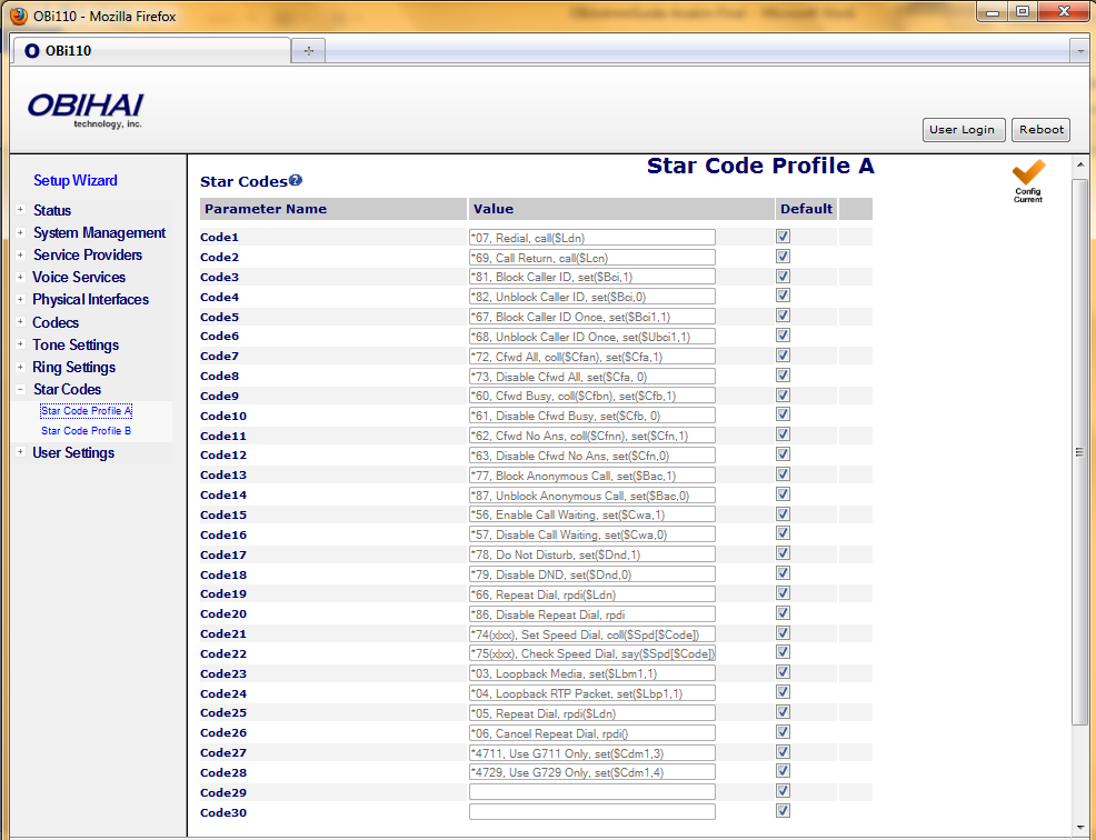 Star Code Profile Parameter Guide: Parameter Description Default Setting Code1 Default = Redial Star Code *07, Redial, call($ldn) Code2 Default = Call Return Star Code *69, Call Return, call($lcn)