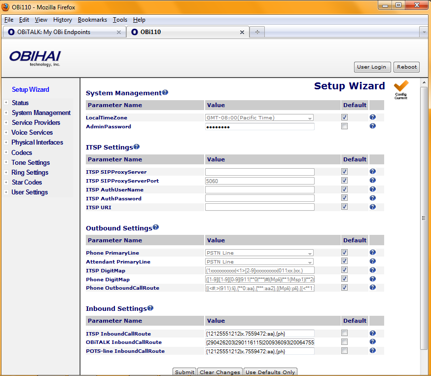 ITSP Quick Start Setup Wizard (OBi100 and OBi110) The Setup Wizard page displays a collection of commonly used parameters in a condensed format.