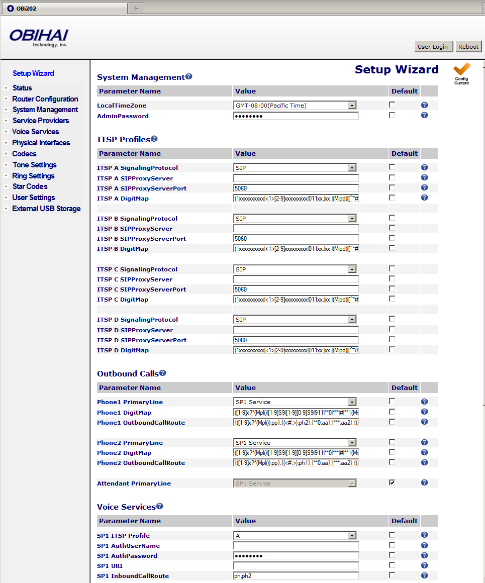 ITSP Quick Start Setup Wizard (OBi202, OBi302) The Setup Wizard page for OBi202 and OBi302 is very similar to that of the OBi1xx, with a few additions to cover