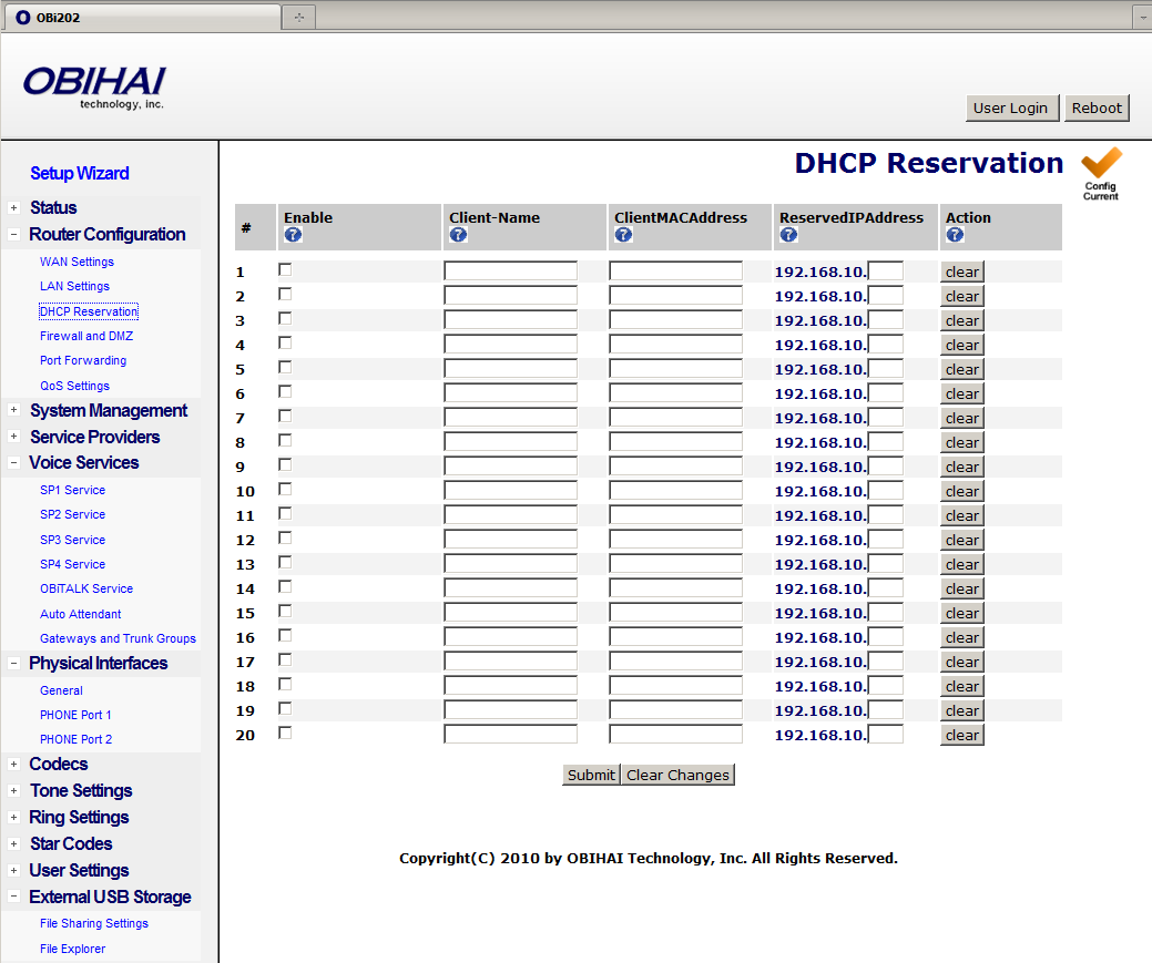DHCP Reservation You can reserve up to 20 specific IP addresses for the DHCP server to give out to DHCP clients with specific MAC addresses. Below is a screen shot of the DHCP Reservation web page.