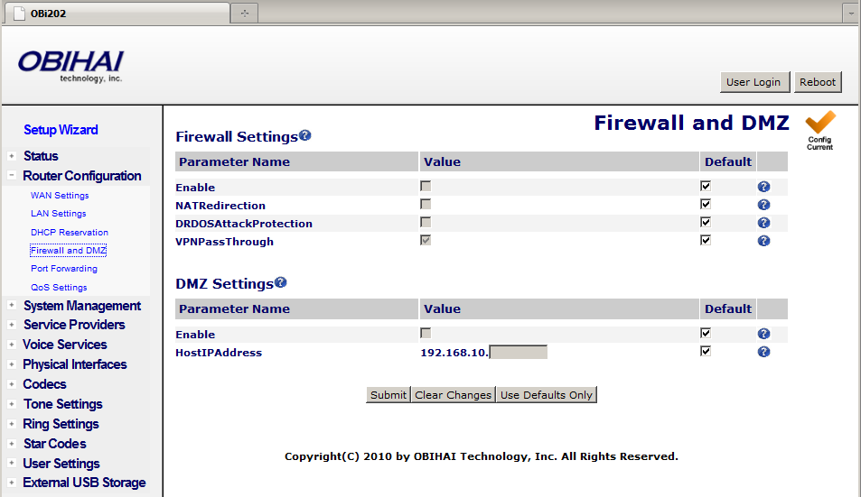 Firewall and DMZ Firewall and DMZ apply only when the OBi is set to work in the router mode. The firewall filters incoming packets from the WAN side only.