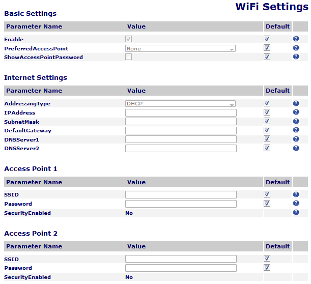 WiFi Settings A screenshot of the WiFi Settings device page