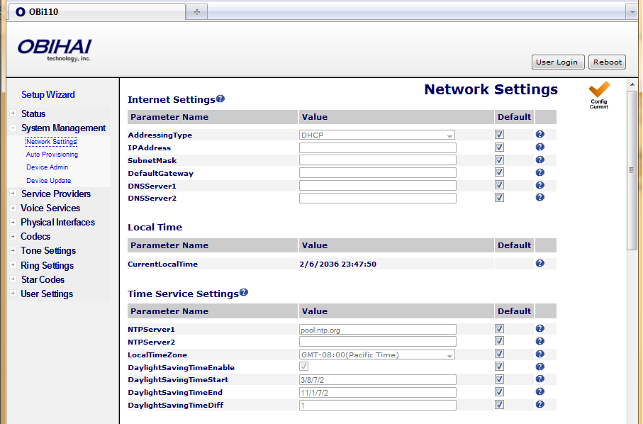 System Management Features of the OBi Device Network Settings This section applies to OBi100 and OBi110 only. For OBi202, please refer to the section WAN Settings.
