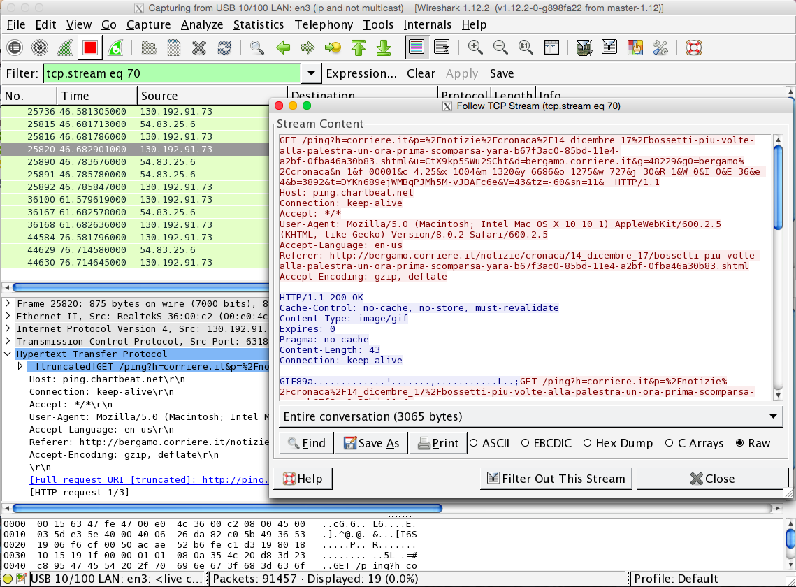 Wireshark Tcpdump with a nice GUI Same very detailed view on the traffic It rebuilds TCP/HTTP/ connections Let the user run specific analysis in a few clicks Best tool for quick troubleshooting Load