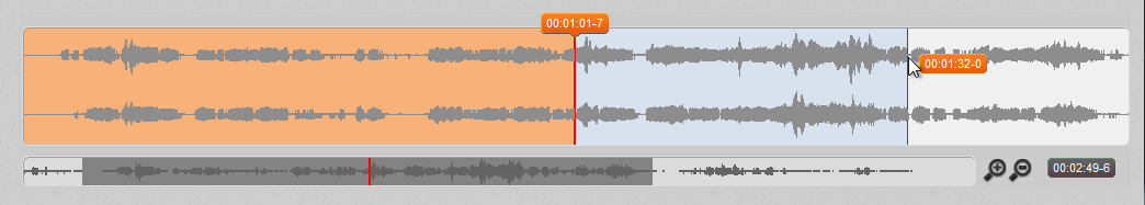Schnellstart in 5 Minuten kann es losgehen 17 The waveform In f4s standard view, a waveform is displayed underneath the transcript.