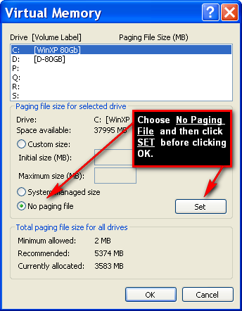 Choose No Paging File. Click SET as shown below : Click OK. OK yourself all the way out back to the Control Panel. You may or may not be asked to reboot your PC / Server.