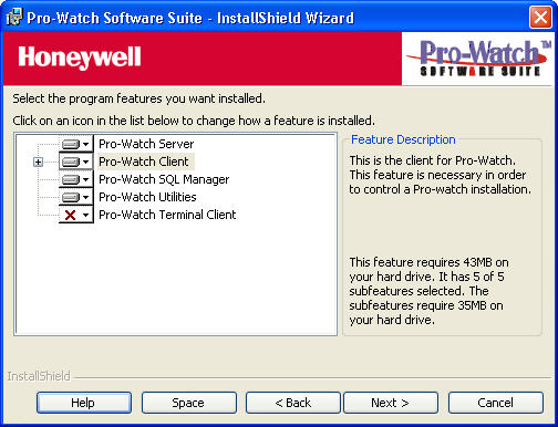 Custom Installation 5. Click Next to display the Pro-Watch Custom Installation Options screen. Figure 15 Custom Installation Options 6. In this step you choose which components to install.